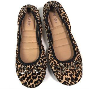 ME TOO Leah Leopard Calf Hair Flats 10